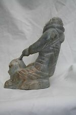 Vintage pre-1990  INUIT SCULPTURE WITH CANADIAN GOVERNMENT IGLOO TAG, SIGNED JF