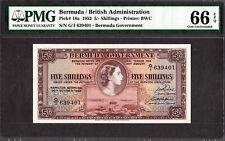 Bermuda 5/- Shillings QEII 1952 Pick-18a GEM UNC PMG 66 EPQ