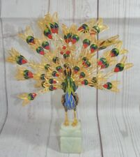 Peacock Figurine Bird Statue Decor Art Enamel