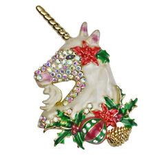 Kirks Folly Holiday Magic Unicorn Christmas Pin Pendant (Goldtone)