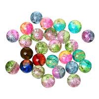 20 Perles en Verre Craquelé Mixte deux couleur 8mm perle fissuré creation bijoux
