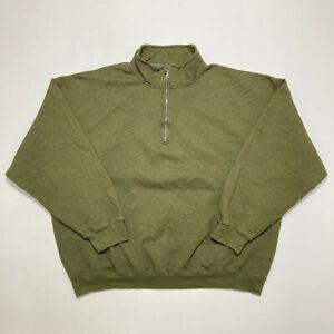 Mens Quarter Zip Sweatshirt Casual Oversized Pullover Jumper Size 2XL