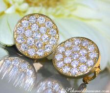 Reinheit SI Echter Diamanten-Ohrschmuck aus Gelbgold mit Omegaverschluss für Damen