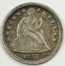 1857 Liberty Seated Dime. Error. Die Break across Reverse.  Natural X.F.  84927
