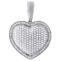 10K White Gold Diamond Pave Puffy Heart Pendant Charm for Chain Necklace 1.10 CT