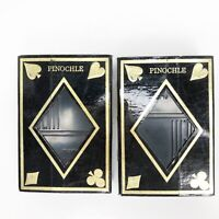 Vintage KEM Plastic Playing Cards Arabesque Pinochle Decks With Plastic Cases