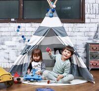 Large Teepee Tent Kids Playhouse Boy Girl Black Pink Grey Strip Indoor Outdoor