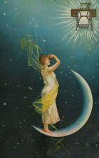 1870's-80's Sewing Machine Co. Lady Standing On Crescent Moon Stars Night Sky *G