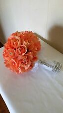 SMALL SIZE BOUQUET OF ROSES-PEACH/SILVER BLING-SILVER LACE TULLE-RHINESTONE PINS