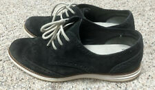 Cole Haan Lunargrand Womens 8B Black Suede Wingtip Fashion Sneakers Shoes