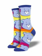 NEW Women's Crew Socks 🐻CARE BEARS 💙Grumpy Stripe Rainbow Teddy Bear