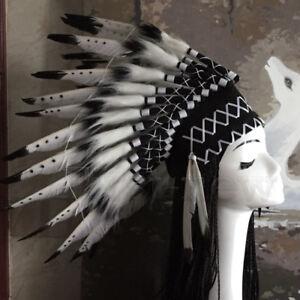 Unisex Indian Feather Headpiece Fancy Cosplay Native American Chief Headwear