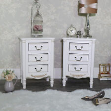 Pair of ornate 3 drawer bedside chests antique cream French bedroom furniture
