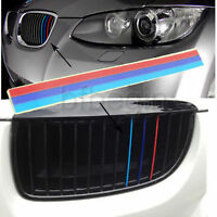 2 X Grill M Sport Grill Sticker 3 Color Stripes Vinyl Decal Badge Emblem For BMW