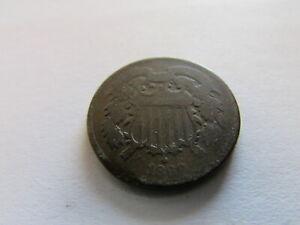 1869 Two Cents Copper Coin Philadelphia Mint 2 Cent Piece 2c