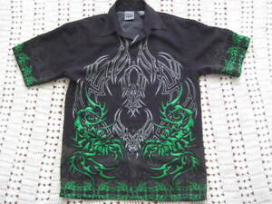 Authentic Shaolin Boys Youth green/black/ grey Tribal Camp bowling Shirt MED