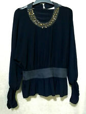 Navy Dolman Top with embellishments