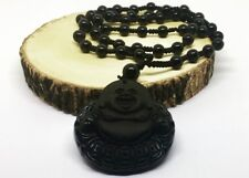 Black Natural A Obsidian Carved Buddha Pendant Necklace Rope Unisex Buddha