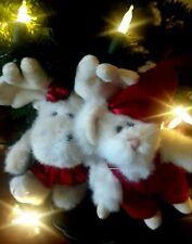 Vintage Pair Boyds Bears Mabel Moose Squeek Mcsnoozle Plush Christmas Ornaments