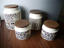 Set of 4 Hornsea Pottery Scroll Canisters Flour Sugar Coffee Tea Vintage