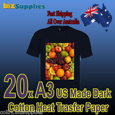 20x A3 Cotton T-Shirt Heat Transfer Paper For Dark Color Shirts Iron On