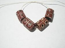 Antique Venetian Wound Trade Beads, tictactoe style inlay - 15-17x11-12mm - 4