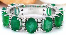 4.60 Carat Natural Emerald 14K Solid White Gold Diamond Ring