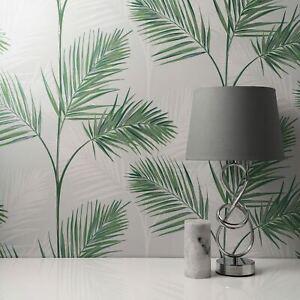 South Beach Palmier Feuille Fine Decor Papier Peint Pierre Gris Métallique Mica