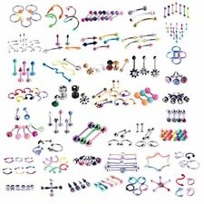 120 PCS Body Piercing Lot Belly Ring Tongue Eyebrow Tragus Barbells Random