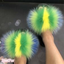 Women's Slides Real Fox Fur Slippers Sandals Sliders Indoor Outdoor Flat shoes