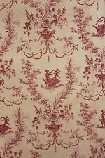 Fabric French toile LINEN texitle faded STUNNING pink & red Antique 86x61 inches