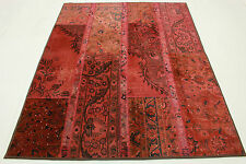 Patchwork Orient Teppich Vintage 200x150 rot pink modern Used Look handmade 1321