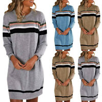 Womens Striped Sweater Jumper Dress Winter Long Pullover Tops Plus Size Ladies