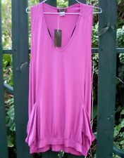 BNWT RRP$90 VEDUCCI Australia (Sz 12) FUCHSIA Ladies DRAPED LOOSE SINGLET TOP