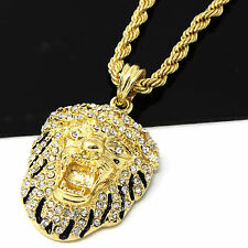 Mens 18k Yellow Gold Plated 24in Iced Out Lion King Face Rope Chain Necklace 4MM