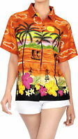 LA LEELA Women's Tropical Camp Hawaiian Blouse Shirt Casual Button Down Printed