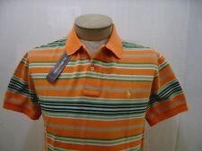 Polo Ralph Lauren Men's Pony Logo Shirt L Short Sleeve Orange Green Striped $90