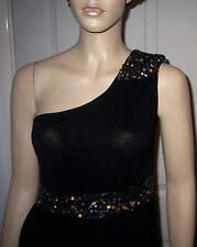 SOUTH Black One Shoulder Sequin Glitter Asymmetric Hem Dress Sz 10 BNWT
