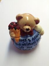 "Small Ganz Porcelain Teddy Bear Hugs & Kisses Cookie/Treat Jar 7"" X 6"""