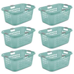Sterilite Ultra 2 Bushel Plastic Stackable Clothes Laundry Basket, Aqua (6 Pack)