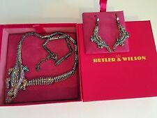 Butler & Wilson Gun Metal Crocodile Necklace & matching drop Earrings (G1505/30)