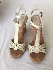 River Island Cream Women Leather Wedge Heels Size 8/41 (BX17).