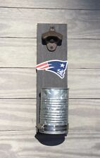 New England Patriots Wall mount bottle cap opener Stained wood & galvanized cup