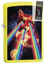 Zippo 29614 Pizza Cat With Rainbow Neon Yellow Finish Lighter + FLINT PACK