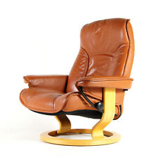 Retro Vintage Leather Reclining Recliner Lounge Chair Armchair 70s Danish Oak
