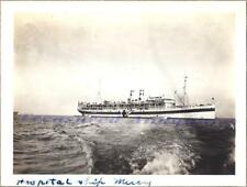 1920s US Navy USS Mercy I AH-4 Hospital Ship Starboard Broadside at Anchor Photo