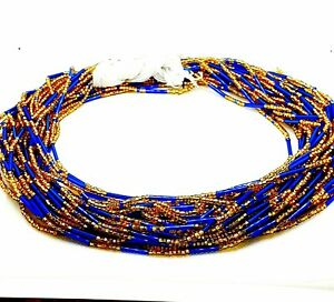 Tie on African Waist Beads Blue and Gold belly chain Add your waist measurement