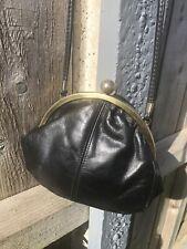 Vintage Salisburys Handbag Purse Black Real Leather Gold Cross Body 70s 80s