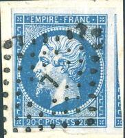 FRANCE - N°14A - non planché 20c bleu ND Type 1 obl. Losange L (Rare - c.120€)