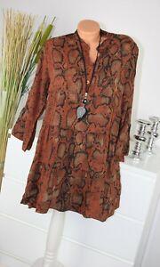 ITALY MODA Kleid REPTIL Motiv Kurz Dress TOP Shirt Bluse ROST S M 36 38 H/M-4 IT